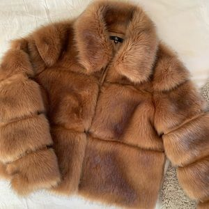 MISSGUIDED Camel Cropped Faux Fur Jacket